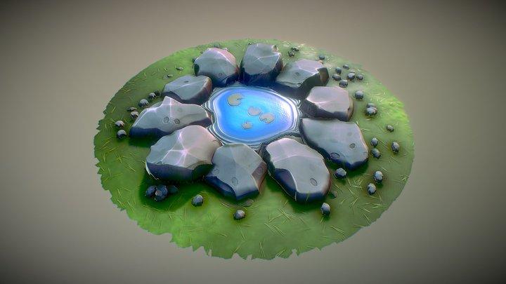 Stylized Rocky Fountain 2 3D Model