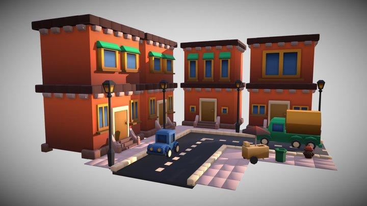 Stylized Street View plus Props - GameJam2019 3D Model