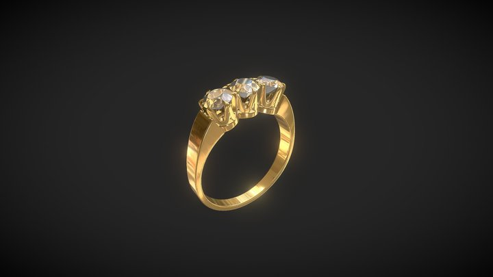 Jewelry. Ring with 3 diamonds 3D Model