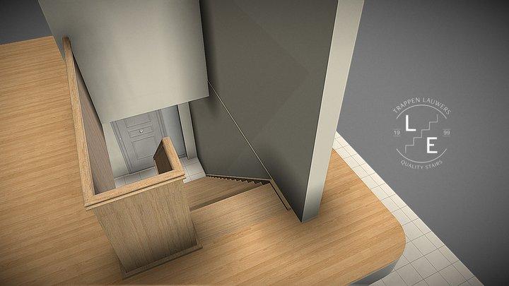 Een landelijke rechte trap 3D Model