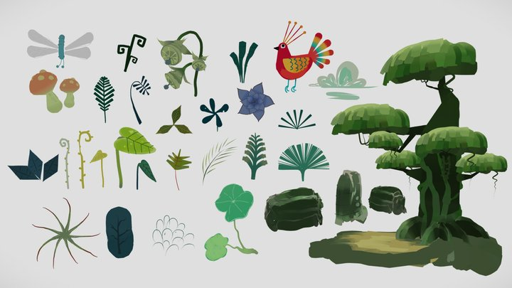 Djungle plants - style elements pack collection 3D Model