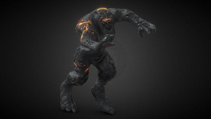 Volcanic damaged elemental 3D Model