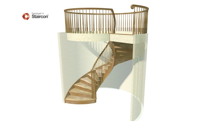 Curved Stair with Vertical Volute 3D Model
