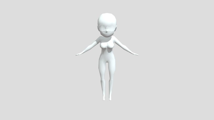 Low-poly Female Chibi Base Mesh 3D Model