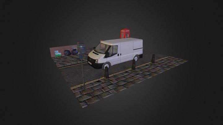 Van & Street Scene 3D Model