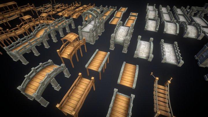 Tileable Bridge Pack 3D Model