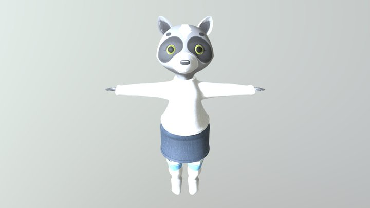 Lil Raccoon in a Sweater & Skirt Outfit 3D Model