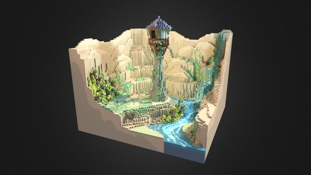 Rapunzel tower (baked) 3D Model