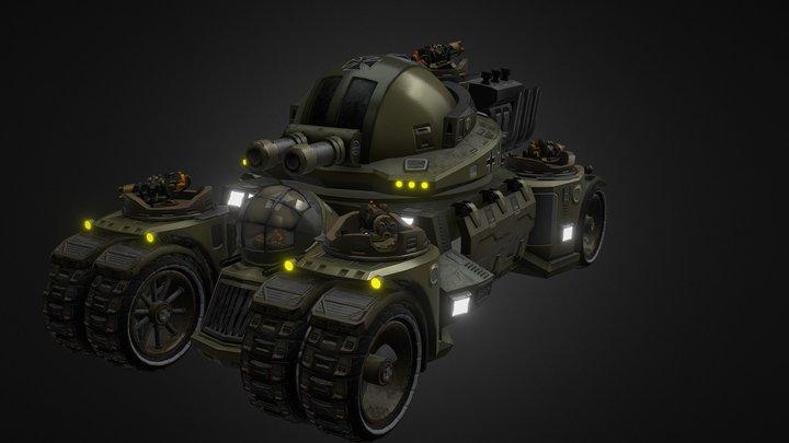 Animated German Super Tank 3D Model