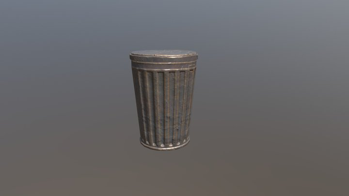 Trash Can. Low Poly 3D Model