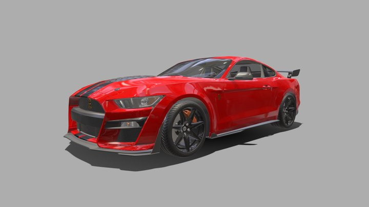 Ford Mustang Shelby GT500 2020 with HQ Interior 3D Model