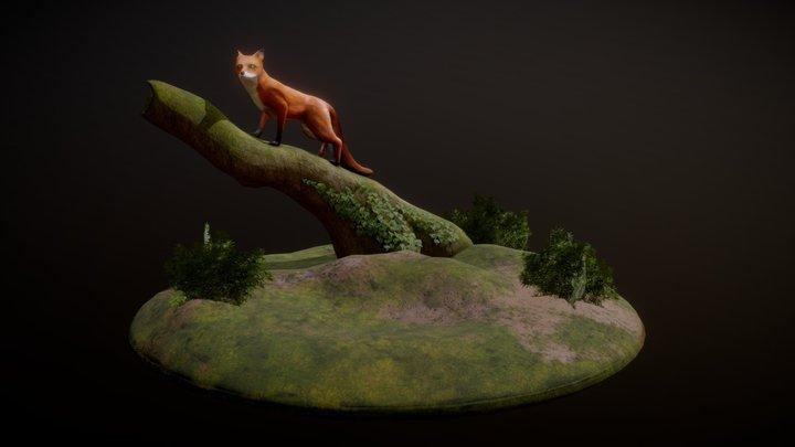 Fox on a Log 3D Model