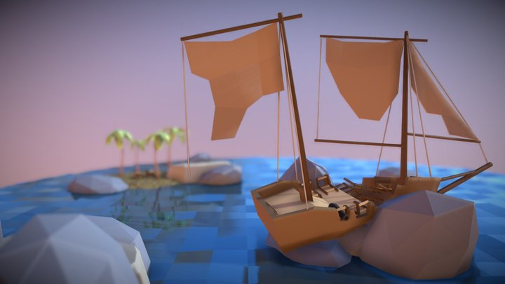 Destroyed Pirate Ship (Low Poly) 3D Model