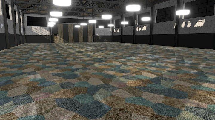 Ege Carpets Canvas Collage Octo Blue In Situ VR 3D Model