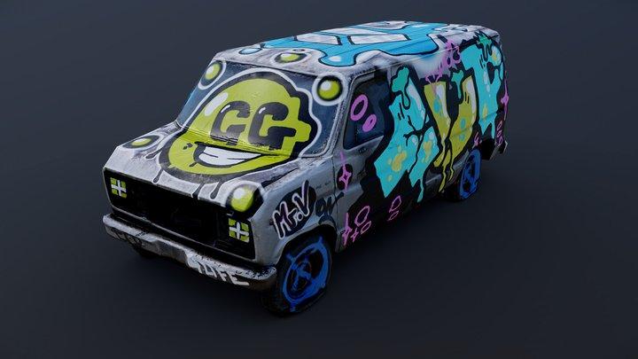 Old Van - Graffiti Challenge (Sketchfab) 3D Model