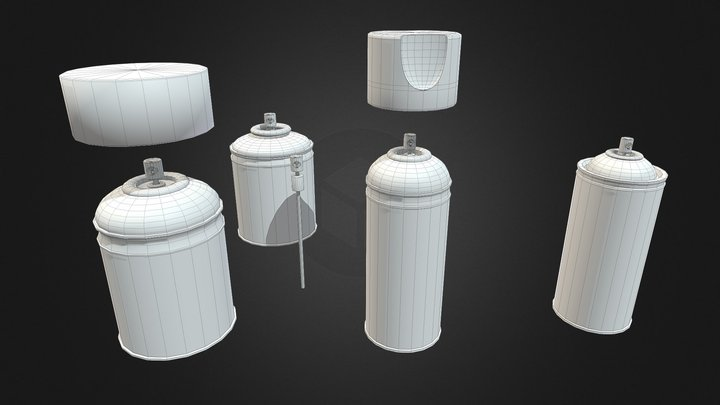 Spray Cans untextured 3D Model