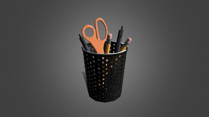 Stylized Mesh Pen Holder 3D Model