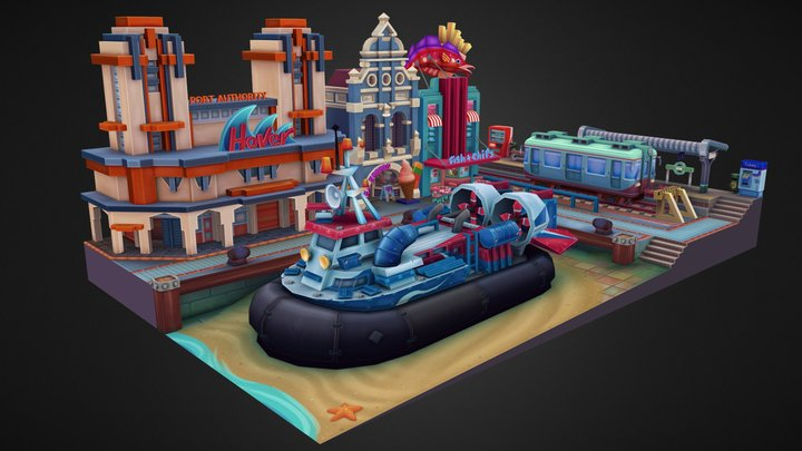 Hovercraft Port 3D Model