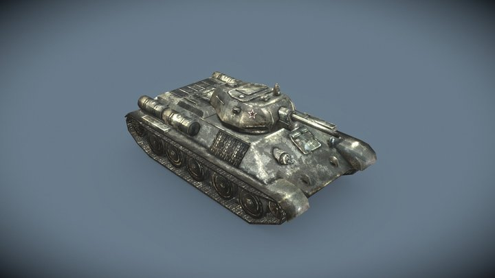 T34 76 Sovietic Tank 3D Model