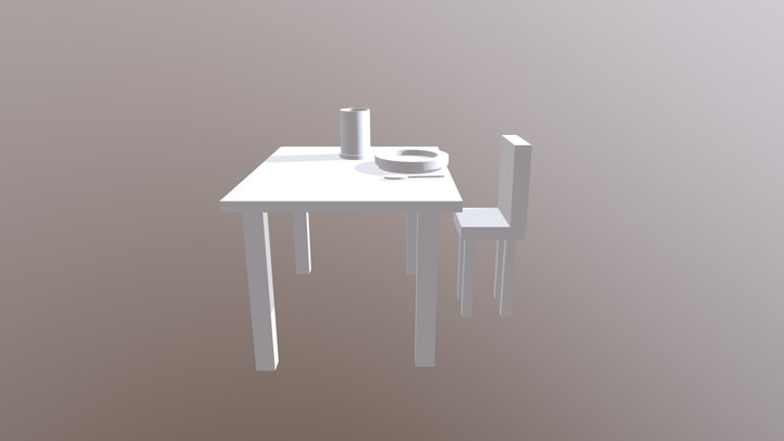 Table and cutlery 3D Model