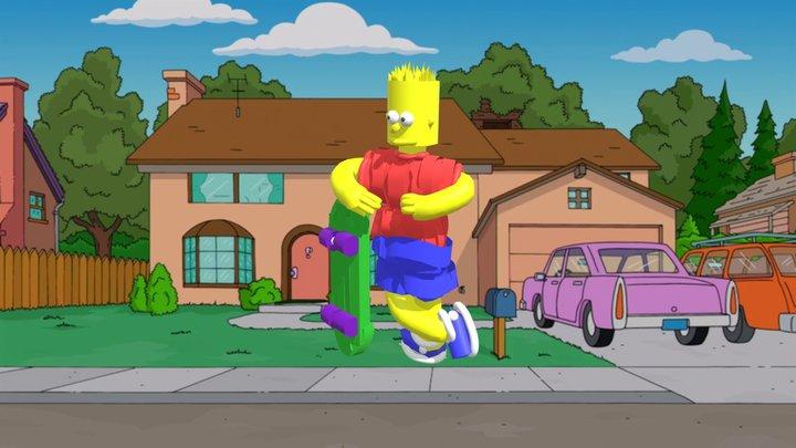 Bart Simpson with Skateboard 3D Model