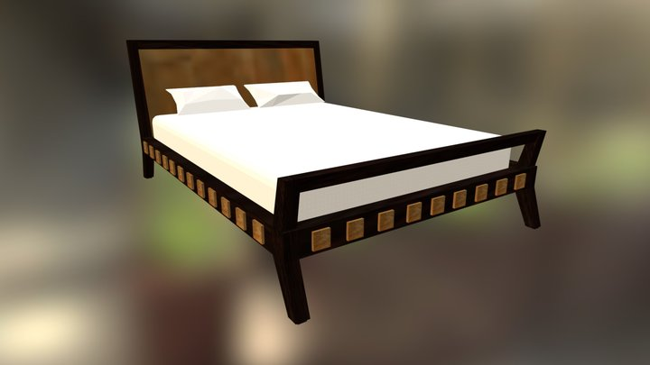 Indian Queen Bed 3D Model