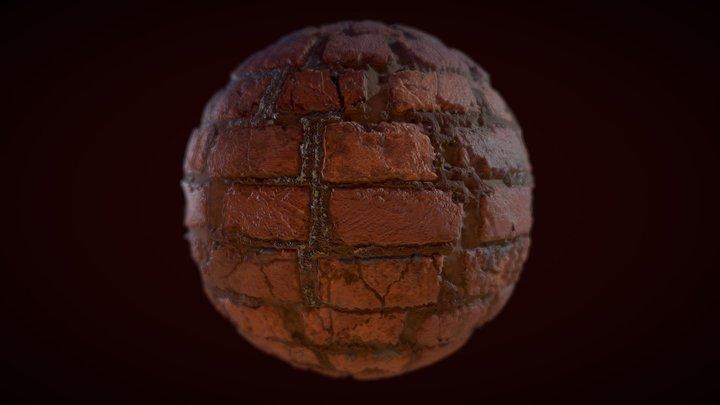 Brick wall material 3D Model