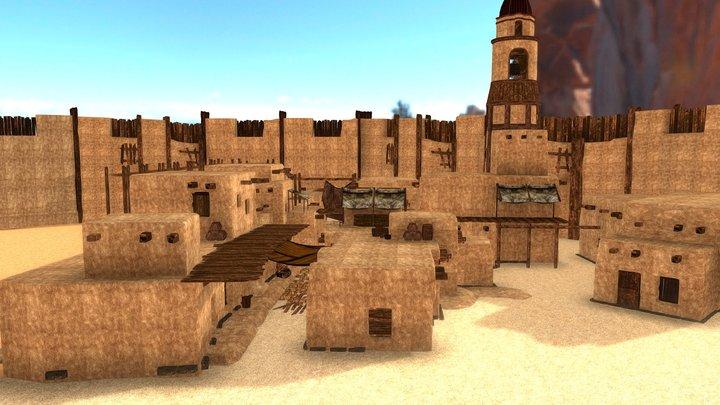 Fantasy: Low Poly Desert Town 3D Model