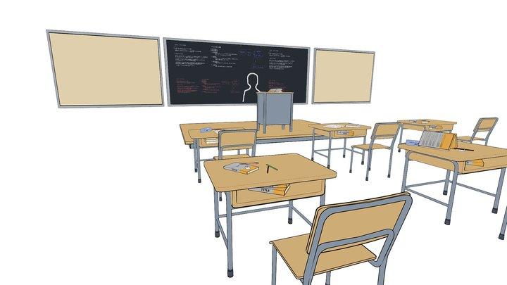 Anime Classroom 3D Model
