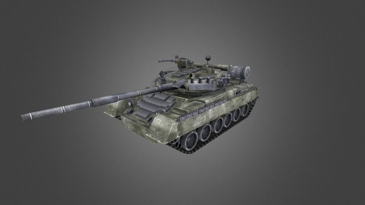 T-80UD Main Battle Tank 3D Model