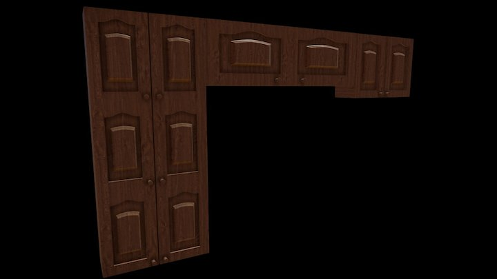 Wooden Kitchen Cabinet 3D Model