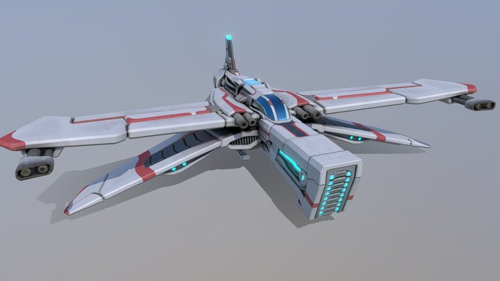 P400 Fighter spaceship 3D Model