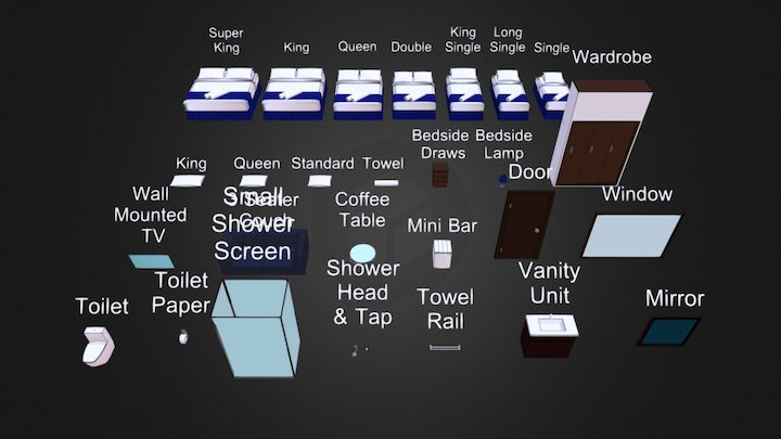 Hotel Room Collection 3D Model