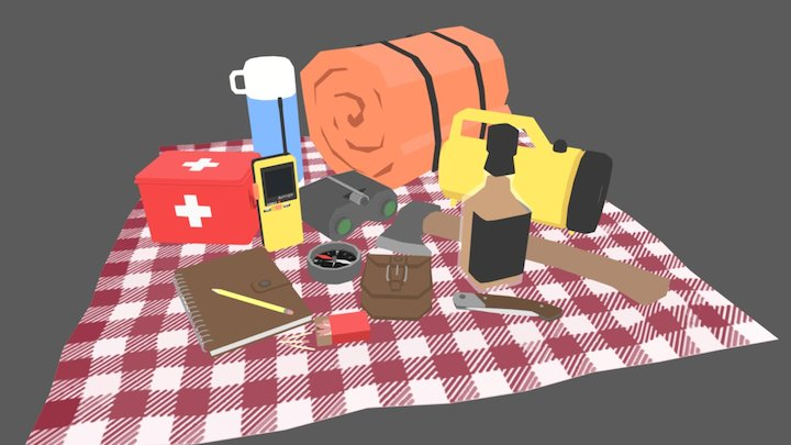 Low Poly Camping Set 3D Model