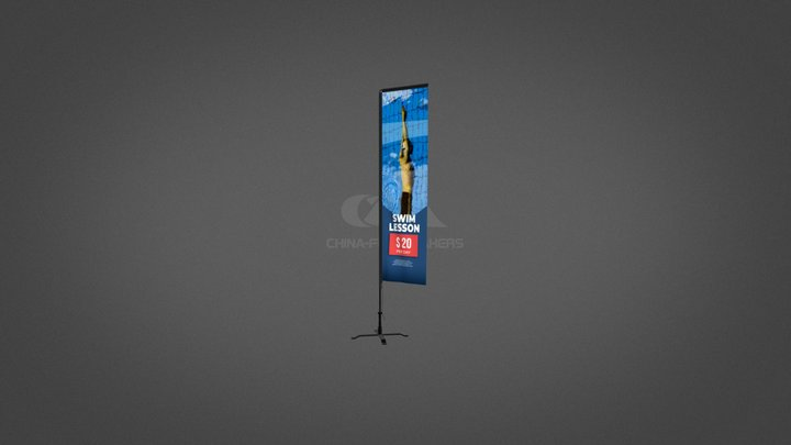Advertising Flag-Rectangle 3D Model