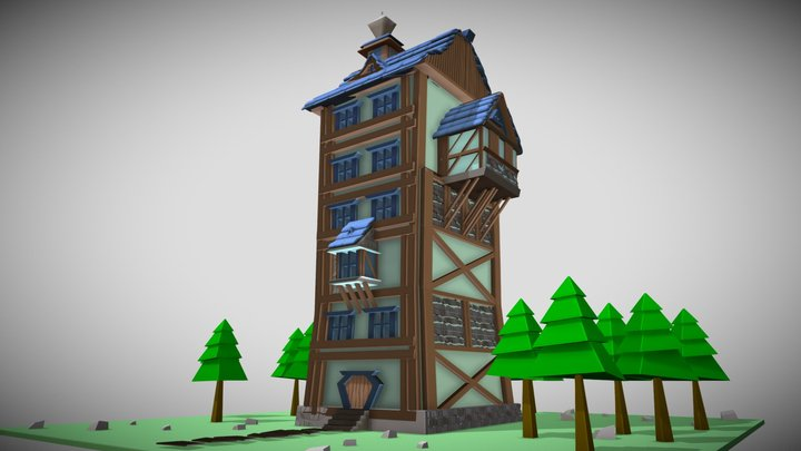 LowPoly High House 3D Model