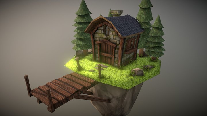 Tiny Cabin Fantasy Textured For Challenge 3D Model