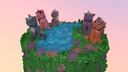 Unicorns cake 3D Model