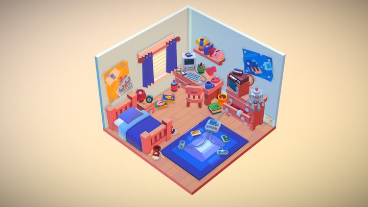 Low Poly Bedroom 3D Model
