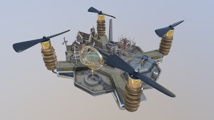 Drone city concept 3D Model