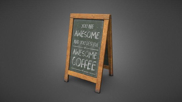 Coffee Shop Blackboard Sign 3D Model