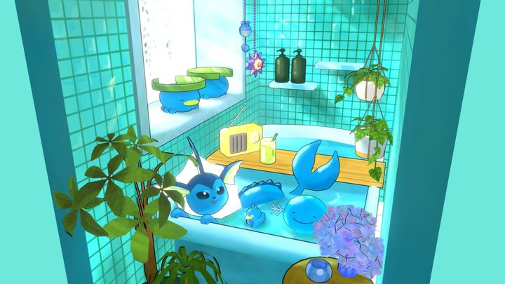 Pokemons in your bathroom 3D Model