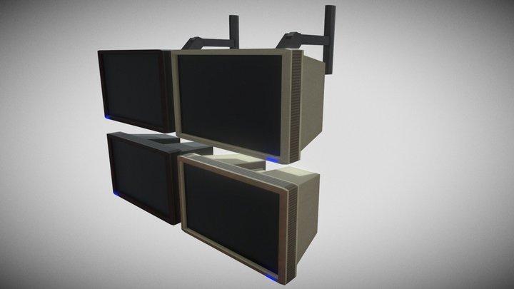 retro cyberpunk computer screens 3D Model