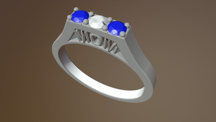 Gold Engagement Ring - 04gg83 3D Model