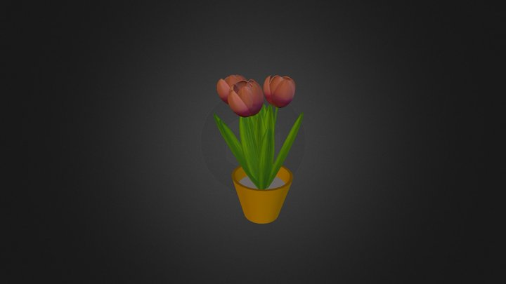Pot with 3 Tulips 3D Model