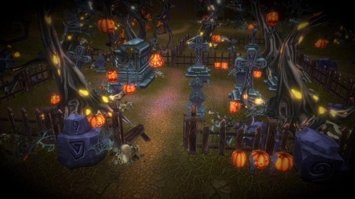 Halloween Cemetery Set 3D Model