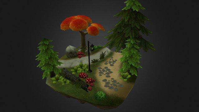Low Poly Stylized Scene 3D Model
