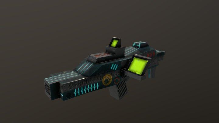 Gun sci-fi low poly 3D Model