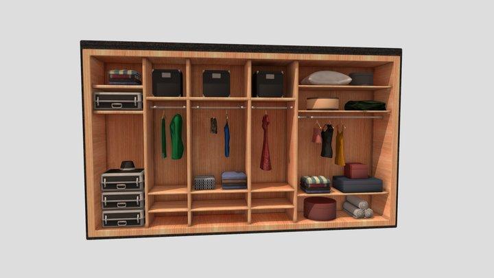Walking Wardrobe Shelves Set Baked Low Poly 3D Model