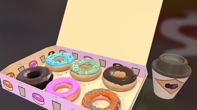 Donuts box & Coffee 3D Model